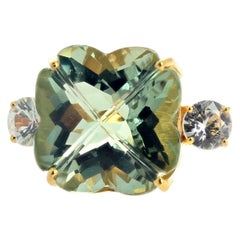 "Gemjunky ""Four Leaf Clover"" Green 18.3Ct.Amethyst & Glittering White Zircon Ring"