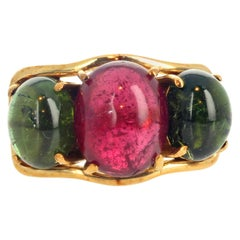 "Gemjunky ""French Chic"" Pink and Green Cabochon Tourmaline 18 Karat Gold Ring"