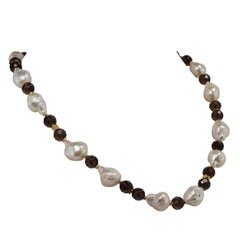 Gemjunky Freshwater Pearl and Smoky Quartz Necklace June Birthstone