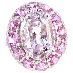 "Gemjunky ""Glam Slam!"" 10 Carat Natural Pink Kunzite and Pink Sapphires Gold Ring"