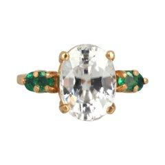 Gemjunky Glittering 4 Ct. White Zircon & Natural Green Emeralds Yellow Gold Ring