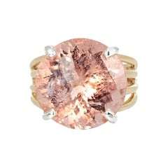 AJD Glittering Natural 14.1Ct. Pink Morganite 14K Yellow Gold & Silver Ring