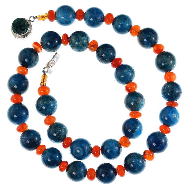Gemjunky Glowing Apatite and Carnelian Necklace For Sale