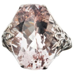 Gemjunky Glowing Glittery Natural 15.5 Carat Kunzite Sterling Silver Ring