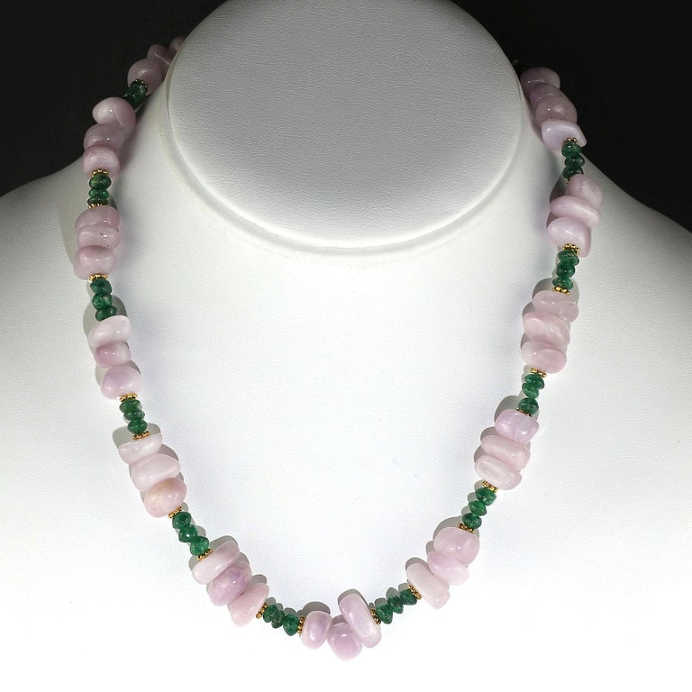 Unique necklace of highly polished Kunzite nuggets, 10 x 10 MM, in its best pinky-mauve shade combined with glorious green, green Aventurine rondelles, 5 MM.  Accents of 22K over copper daisies and a 14K heavy gold place hook and eye clasp.  This 17