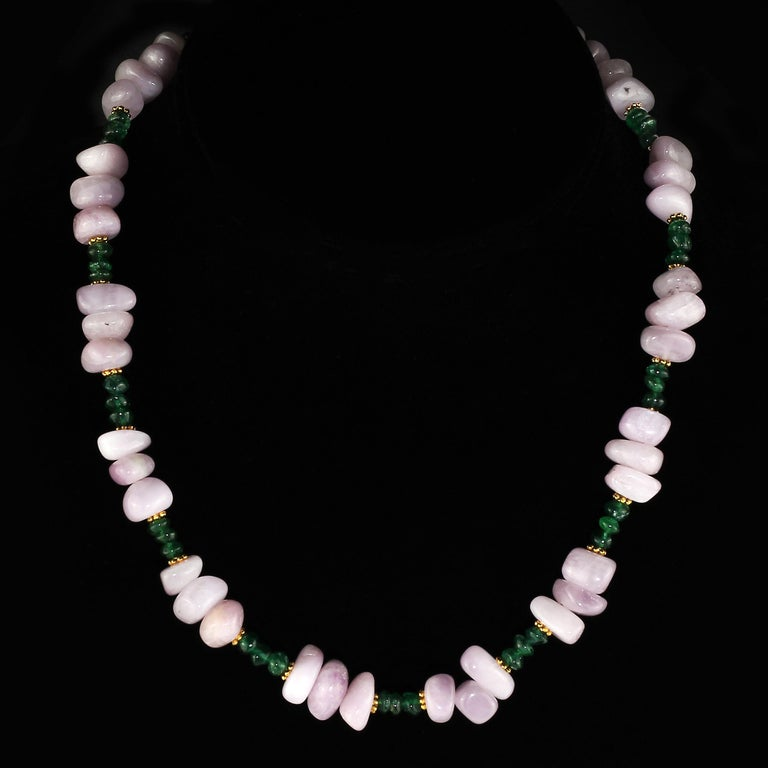 Artisan Gemjunky Glowing Kunzite and Aventurine Necklace for Summer Fun For Sale