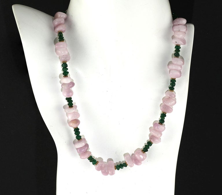 Bead Gemjunky Glowing Kunzite and Aventurine Necklace for Summer Fun For Sale