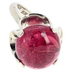 Gemjunky Glowing Reddish-Pink Natural Cabochon 17 Carat Tourmaline Silver Ring