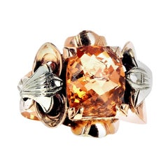 AJD Golden Glittering Rare 4.95 Ct. Imperial Topaz Gold & Silver Ring