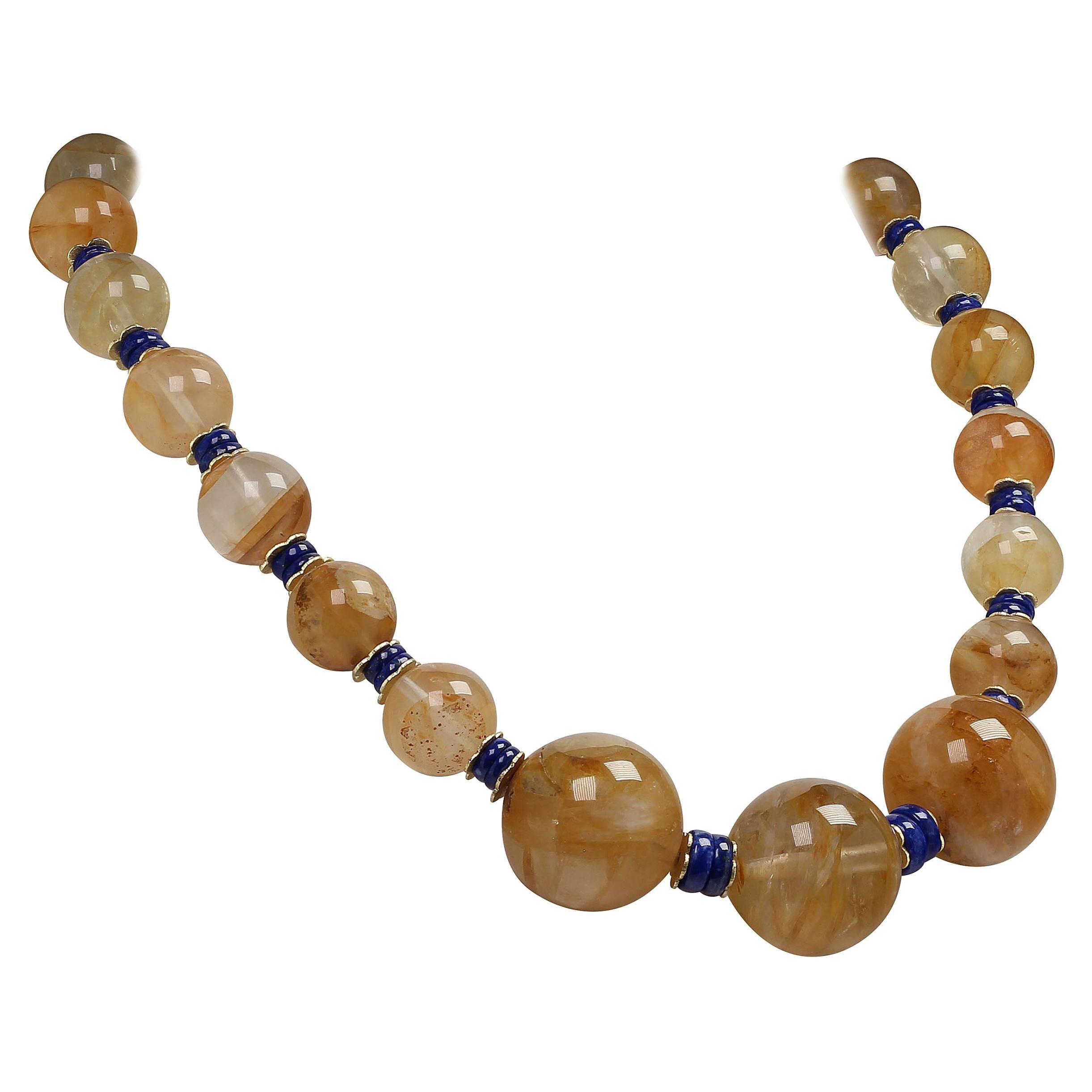 Golden Quartz and Lapis Lazuli Necklace