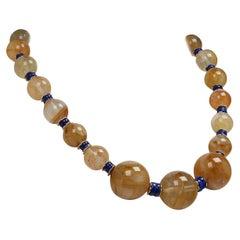 Gemjunky Golden Quartz and Lapis Lazuli Necklace
