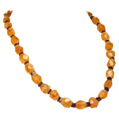 Gemjunky Graduated, Faceted Sparkling Citrine with Amethyst Accents Necklace