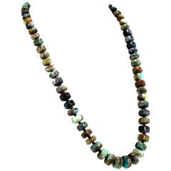 Green and Brown Graduated Rondels of Peruvian Opal Necklace with Silver