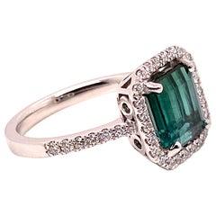 Gemjunky Green Tourmaline and Diamond Dinner Ring