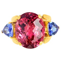 Gemjunky Hollywood 16 Ct Glittering Pink Tourmaline & Tanzanite 18Kt Gold Ring