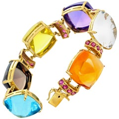 "Gemjunky ""Hollywood Collection"" Multi-Gemstone 18 Karat Yellow Gold Bracelet"