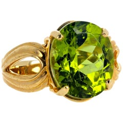 "Gemjunky ""Hollywood Glam"" 10 Carat Glittering Natural Peridot 14 Karat Gold Ring"