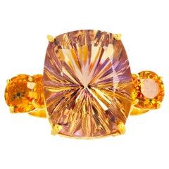 Gemjunky Absolutely Dazzling 12.02 Ct Blush Gold Citrine & Citrine Ring