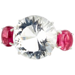 "Gemjunky ""Hollywood Glam"" 12.75 Carat Intense Petalite and Pink Tourmaline Ring"