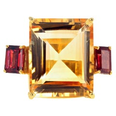"Gemjunky ""Hollywood Glam"" 13.47 Carat Yellow Citrine and Rhodolite Garnet Ring"