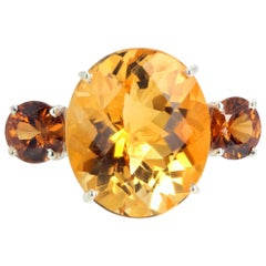 "Gemjunky ""Hollywood Glam"" 19 Carat Dazzling Fiery Yellow Gold Citrine Ring"