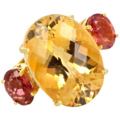 "Gemjunky ""Hollywood Glam"" 20.46 Ct. Fiery Yellow Citrine & Pinky Tourmaline Ring"