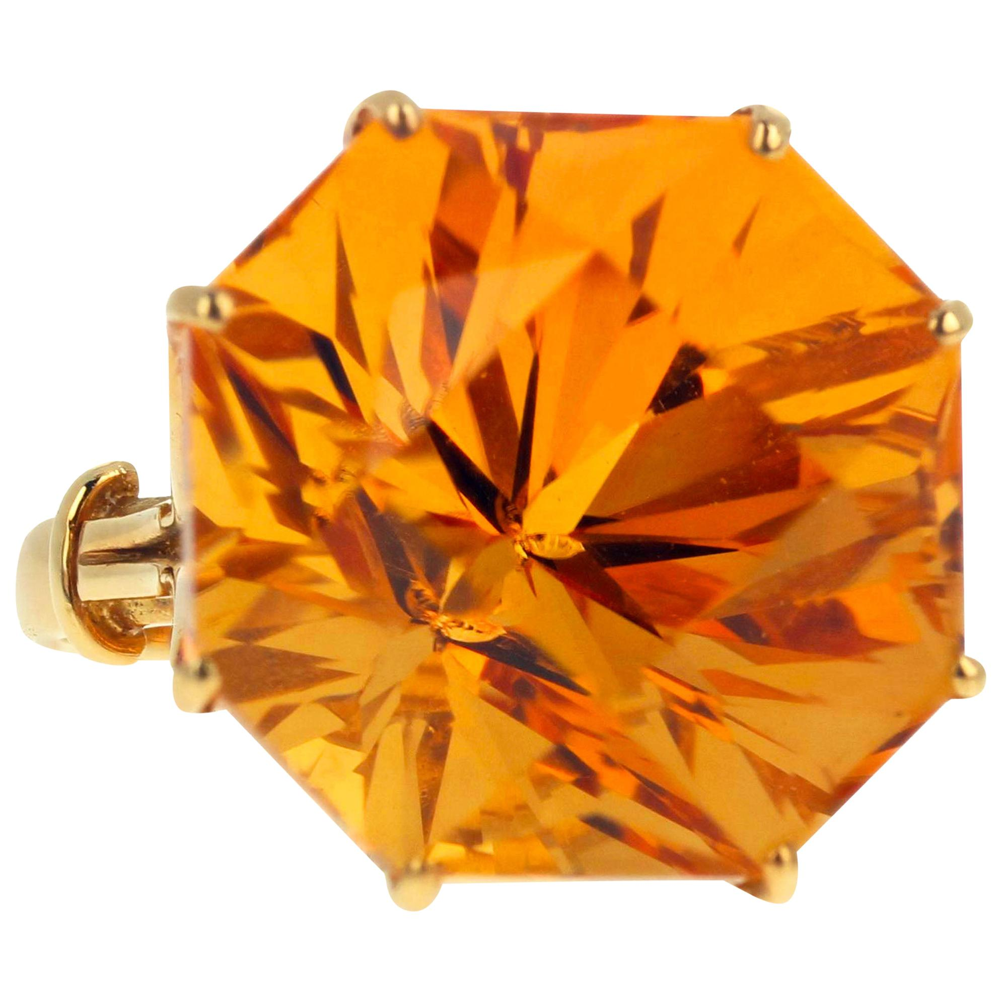 Gemjunky Magnificent Brilliant Sparkling 24 Ct. Goldy Citrine Yellow Gold Ring