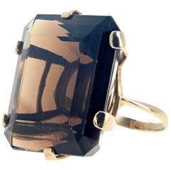 "Gemjunky ""Hollywood Glam"" Cushion Cut Enormous Natural 54 Ct. Smoky Quartz Ring"