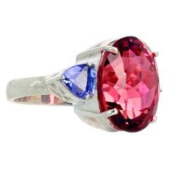 """Gemjunky """"Hollywood Glam"""" Intensely Pink 15.7 Carat Tourmaline & Tanzanite Ring"""