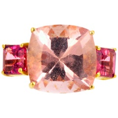 "Gemjunky ""Hollywood Glam"" Magnificent 8.89 Ct Blush Morganite & Tourmaline Ring"