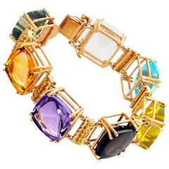 "Gemjunky ""Hollywood Glam"" Mulit-gemstone 14 Karat Yellow Gold Bracelet"