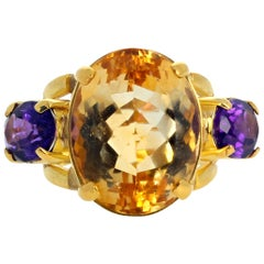 "Gemjunky ""Hollywood Glam""26Ct Citrine & Amethyst Impressive 18K Yellow Gold Ring"