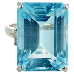 Gemjunky Hollywood Stunning Cushion Cut 18 Ct Aquamarine Silver Solitaire Ring