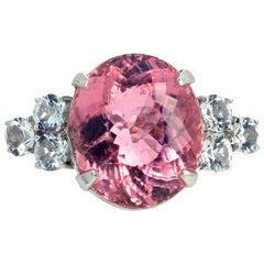 Gemjunky Impressive 14.38 Carat Sparkling Pink Tourmaline and White Zircons Ring
