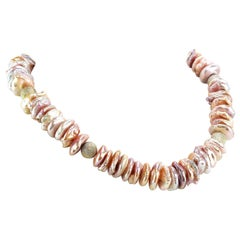 Iridescent Coin Pearl Necklace with Sparkling Gold or Silver Accents