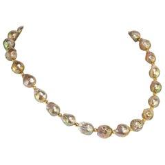 Gemjunky Iridescent Golden Baroque Pearl Necklace  June Birthstone
