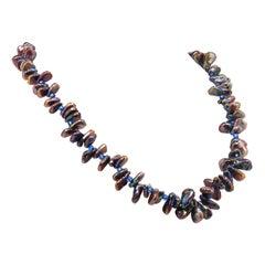 Gemjunky Iridescent, Triangular Bronze-Green Pearl Necklace June Birthstone