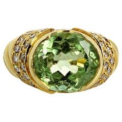"Gemjunky ""Italian Movie Star"" 8 Ct Intense Tourmaline & Diamond 18Kt Gold Ring"