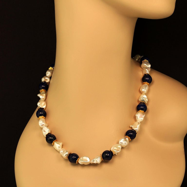 Bead Gemjunky Keshi Pearl and Lapis Lazuli Necklace June Birthstone For Sale