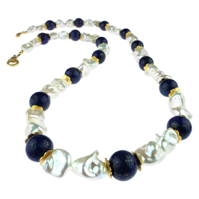 Artisan Gemjunky Keshi Pearl and Lapis Lazuli Necklace June Birthstone For Sale