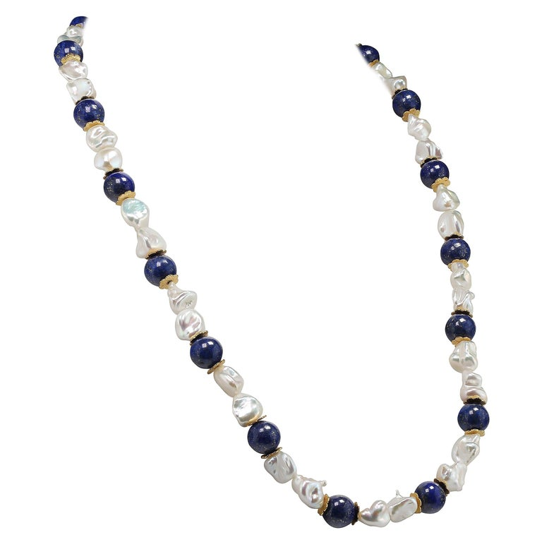 Gemjunky Keshi Pearl and Lapis Lazuli Necklace June Birthstone For Sale
