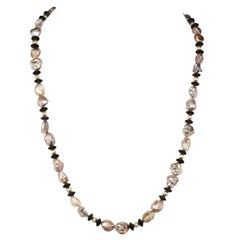 Gemjunky Long and Lovely Silvery Pearls and Black Onyx Necklace