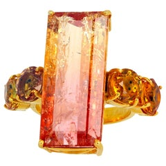 Gemjunky Magnificent 20.41 Carat Magic Colors Citrine and Songea Sapphires Ring