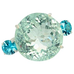 Gemjunky Magnificent 26.98 Carat Sparkling Greenish Blue Beryl & Blue Topaz Ring