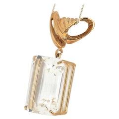 AJD Magnificent Big 33ct. Sparkling Cushion Cut Rare Goshenite Gold Pendant
