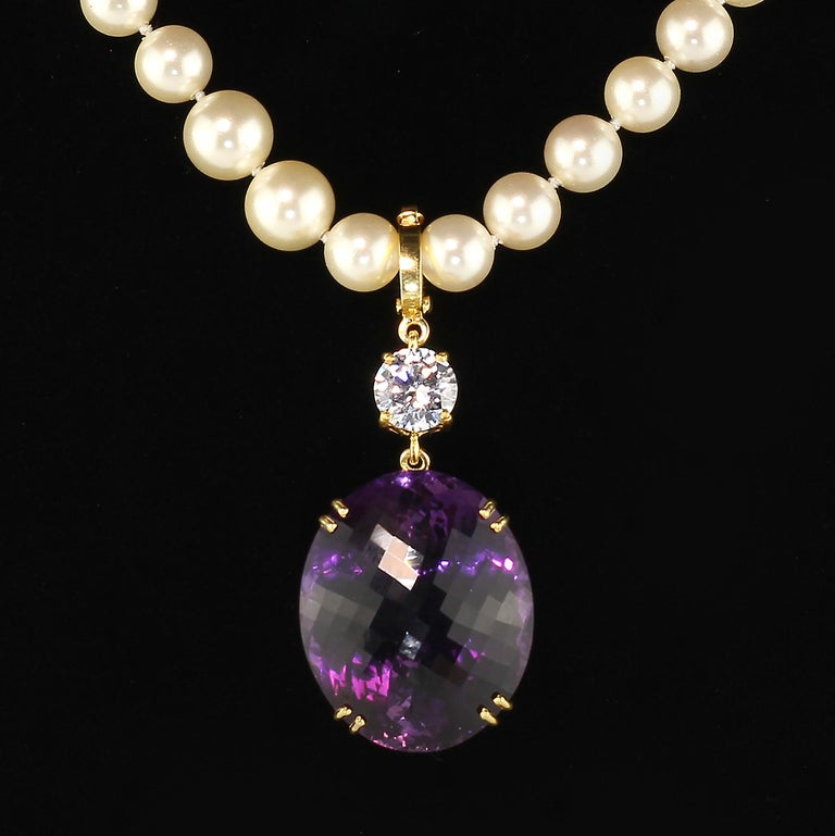 Magnificent Huge Oval Amethyst Pendant in Gold Rhodium Sterling Silver For Sale 4