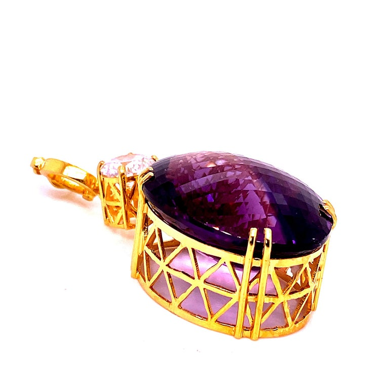 Artisan Magnificent Huge Oval Amethyst Pendant in Gold Rhodium Sterling Silver For Sale