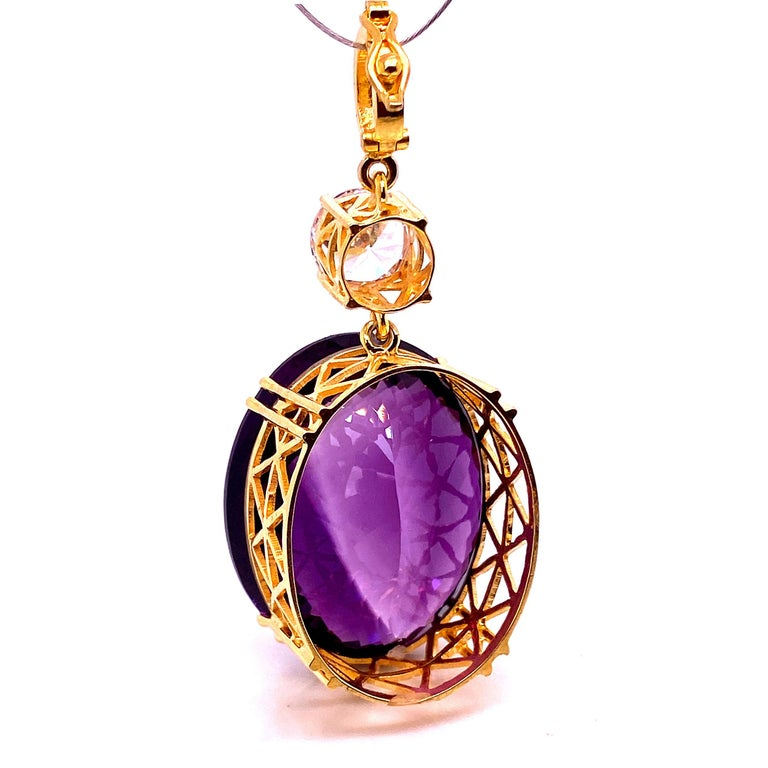 Oval Cut Magnificent Huge Oval Amethyst Pendant in Gold Rhodium Sterling Silver For Sale