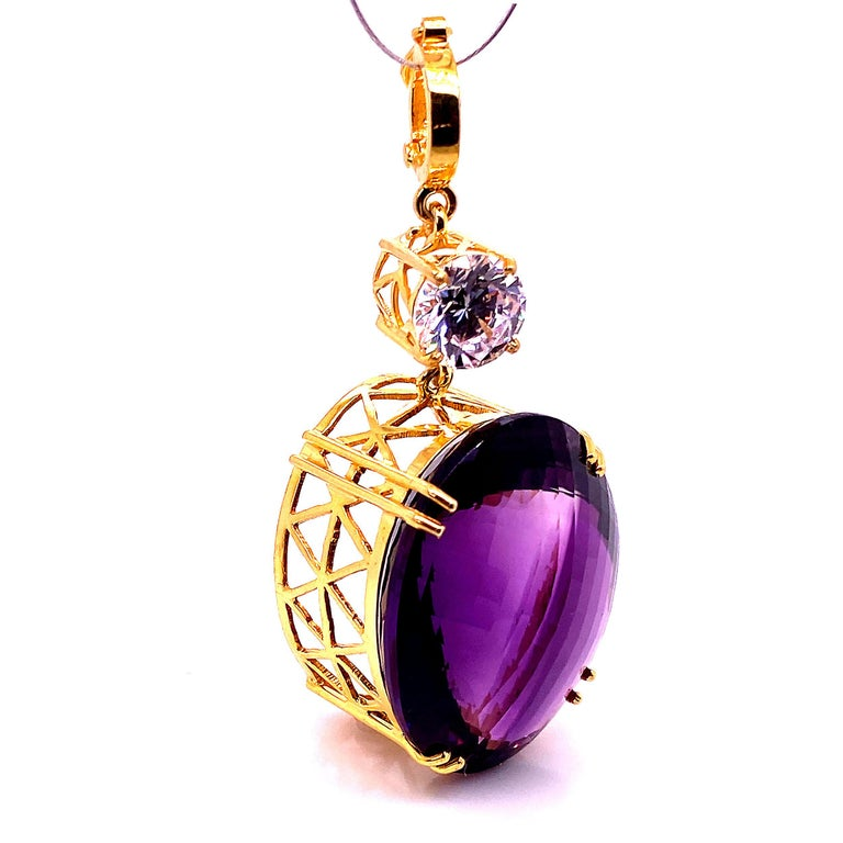 Magnificent Huge Oval Amethyst Pendant in Gold Rhodium Sterling Silver In New Condition For Sale In Tuxedo Park , NY
