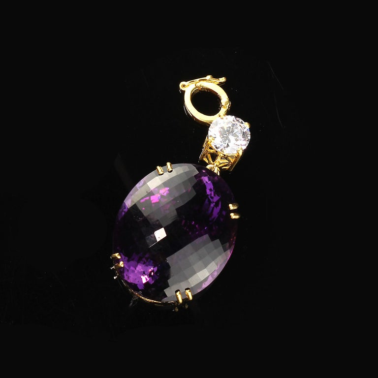 Magnificent Huge Oval Amethyst Pendant in Gold Rhodium Sterling Silver For Sale 2